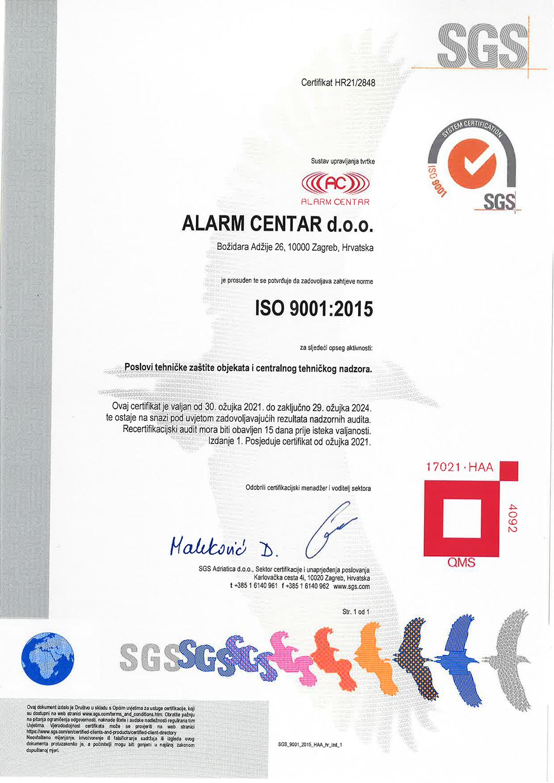 alarm-centar-9001-certifikat